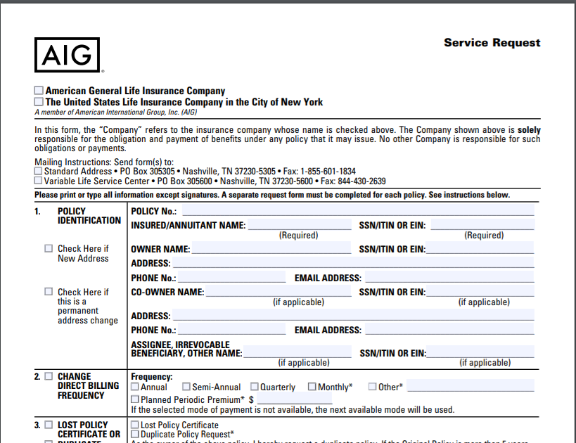 AIG Cancellation form